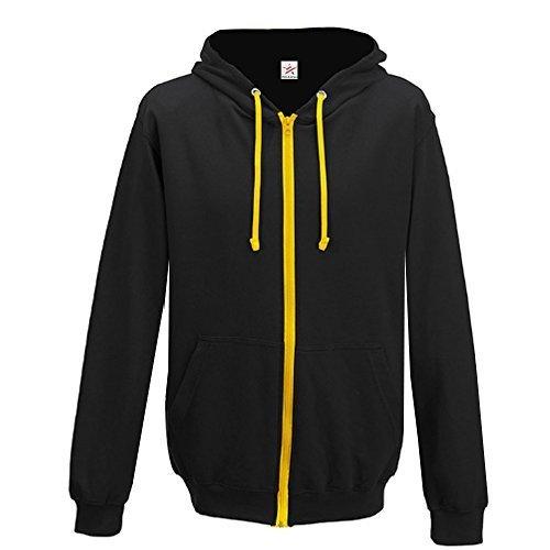 Felpa con cappuccio da uomo e da donna, con zip intera e cappuccio a contrasto, taglie dalla s alla xxl black with gold zip hoodie xl
