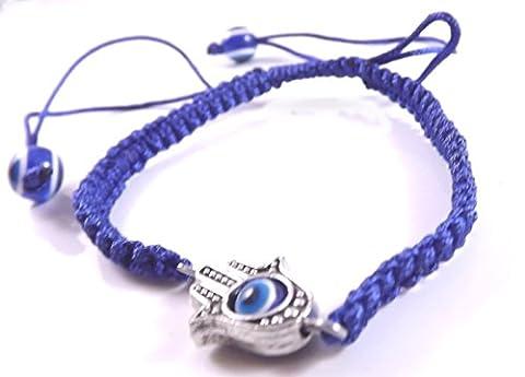 3 Evil Eye HAMSA Dark Blue String Bracelets