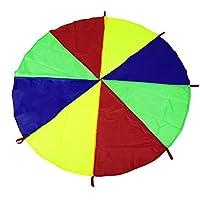 DoMoment Niños Niños Jugar Rainbow Parachute 8 Manijas Juego de Ejercicio Deportivo para niños de la Infancia