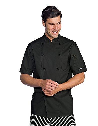 Isacco - Veste Chef Cuisinier Extralight Manches Courtes Noir Noir