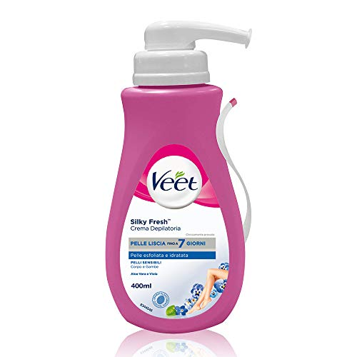 Veet Crema Depilatoria Silk & Fresh Technology per Pelli Sensibili, 400 ml