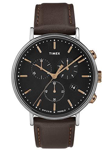 Timex Herren Chronograph Quarz Uhr mit Leder Armband TW2T11500