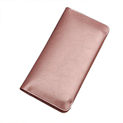 Frauen PU Leder Geldbörsen Kreditkartenhüllen Münzbörsen Personalausweishüllen Scheckbuchhüllen für 5.5 Zoll Phone Roségold