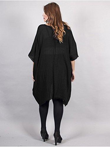 Vêtement Femme Grande Taille Tunique Longue noire Multicolore