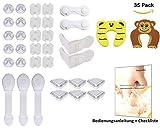 Kinder Sicherheitsset Baby-Sicherung (35-teilig), 10x Steckdosenschutz, 16x Eckenschutz, 2x Schrankschloss, 2x Klemmschutz, 5x Universalverschlüsse, Checkliste als E-Book
