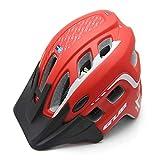 LMHTKMS Verdicken Qualifizierte MTB Road Fahrrad Helm Radfahren Bike Sport In-Mold Helm Mountainbike Mit Krempe Cascos Ciclismo 55-61 cm, rot