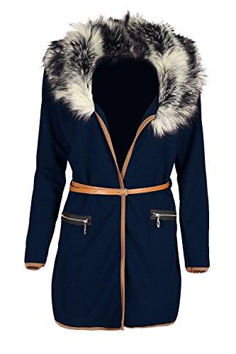 Oops Outlet Womens Kunstpelz Mantel Damen Jacke Mit Gürtel Langärmelig Blazer Umhang Strickjacke Top - Marine, X-Large / DE 42