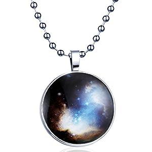 Yumilok Sternenhimmel Nachtleuchtend Anhänger Halskette Legierung Medaillon Amulett Kettenänhanger für Damen Mädchen, Blaues Licht