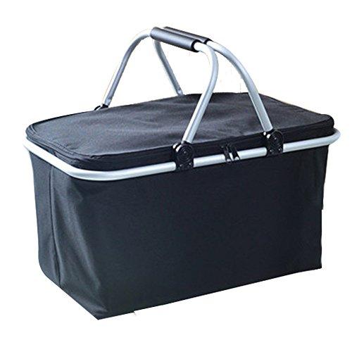(Zmsdt 30L Extra Große Outdoor Camping Camping Reise Portable Falten Picknickkorb Mit Deckel Einkaufskorb Eisbeutel Isolierung Paket (Farbe : Black))