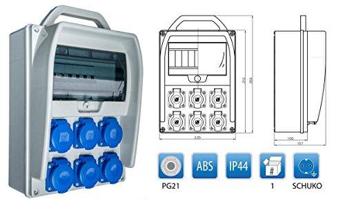 Baustromverteiler, Wandverteiler, Stromverteiler 6 x 230V/16A verdrahtet + Leitungsschutzschalter LS
