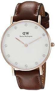 Daniel Wellington Damen Analog Quarz Uhr mit Leder Armband DW00100075