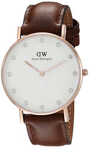 Daniel-Wellington-Womens-Quartz-Watch-with-White-Dial-Analogue-Display-and-Brown-Leather-Strap-0950DW