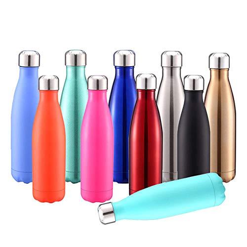 XLLX Reisebecher, Sportflasche, tragbarer Edelstahlkessel, Wiederverwendbare Wasserflasche, Sport, Outdoor, Schule, Büro@500ml_Light_Blue
