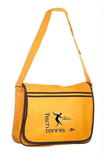 Retro Messenger Bag BG71 gold/schwarz Tischtennis