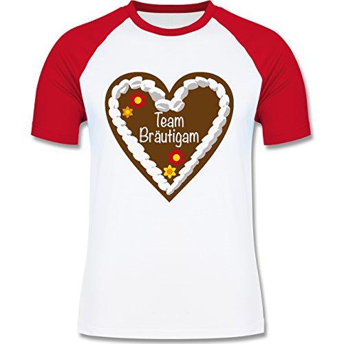 JGA Junggesellenabschied - Lebkuchenherz Team Bräutigam - zweifarbiges Baseballshirt für Männer Weiß/Rot