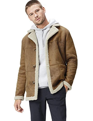 FIND Herren Shearling-Mantel, Braun, X-Large