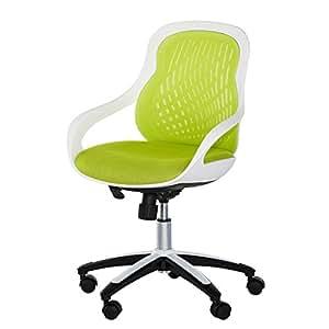 home24 office Chaise de bureau pivotante Ben - Coque blanche - Dossier et assise vert pomme