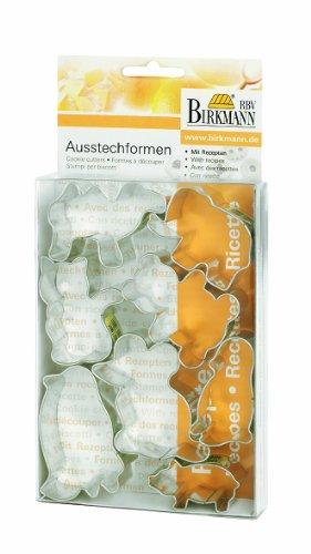 RBV Birkmann Birkmann 160064 Ausstechfomen-Set Tiere, 8-teilig, in Klarsicht-Box, Rezepten, Weißblech, 4-7 cm (4-tier-box)