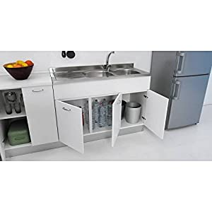 Mueble para fregadero de cocina, de 135x 60cm, con doble puerta, combinable con fregadero de acero inoxidable, disponible en tres colores
