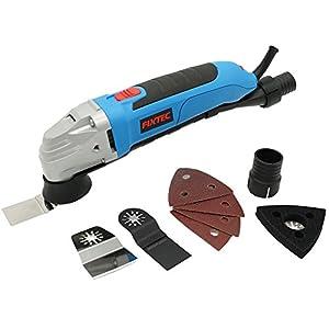Fixtec Multiherramienta oscilante multifunción con hojas de lija, accesorios de lijado, cuchillas,maletín Bmc, 300W