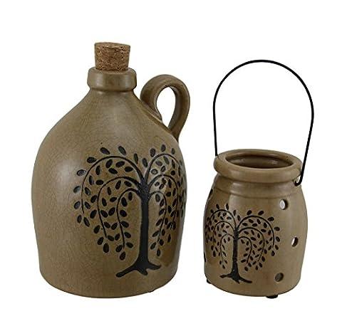 Effet craquelé Porcelaine Willow Tree Carafe et ensemble de porte bougie