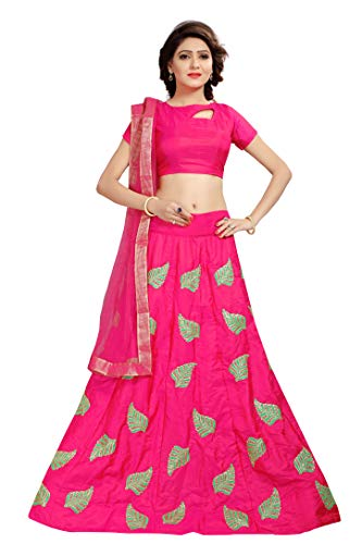 Shoryam Fashion Women\'s pepar silk Embroidered Semi Stitched party wear lehenga choli with Dupatta(free size_sf_pankti pink)