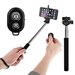 Vivo V5 Compatible Ceritfied Portable Selfie Stick with Bluetooth Wireless Shutter Button Remote ( Assorted Colour )