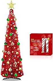 TURNMEON 5 Ft Tinsel Prelit Christmas Tree with Timer 50 Color Lights,Pop Up Artificial Pencil Slim Tree 30 Ba