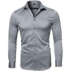 Camisa Bambú Fibra Hombre, Manga Larga, Slim Fit, Camisa Elástica Casual/Formal para Hombre, Gris Pizarra, 38 (Cuello 38CM, Pecho 96CM)