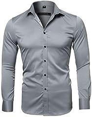 Idea Regalo - Harrms Camicia Elastica di bambù Fibra per Uomo, Slim Fit, Manica Lunga Casual/Formale, Grigio Ardesia, 39 (Collo 39CM, Petto 100CM)