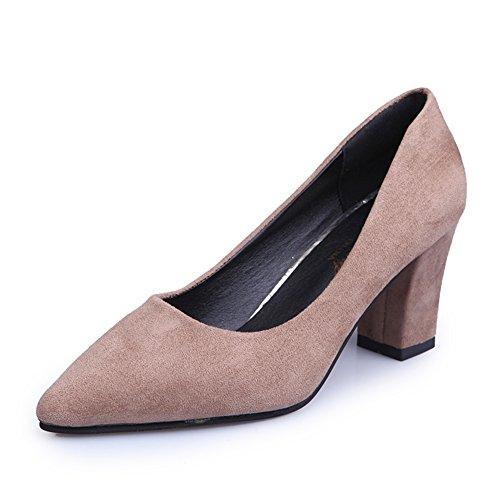 Dame fashion printemps a fait des talons hauts/Chaussures de travail de la bouche peu profonde/L'Europe et les chaussures à talons chunky A
