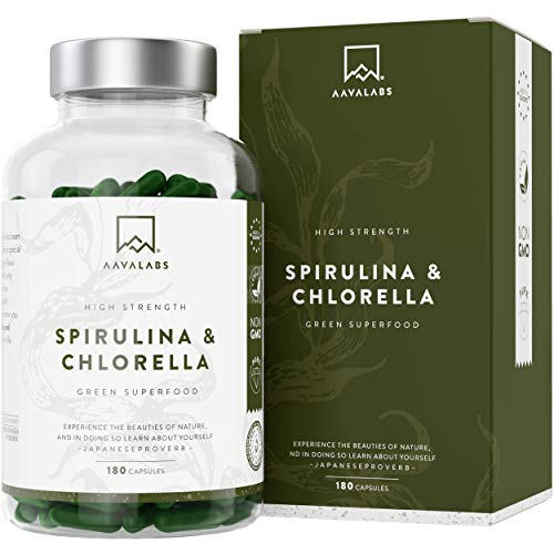 Chlorella Spirulina Algae Capsules [1800 mg] 180 Units - A mixture of dense blue algae with high quality phytonutrients - Vegan Protein - Essential Amino Acids - Made in Europe