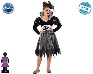 Atosa-61439 Atosa-61439-Disfraz Mujer Araña-Infantil Niña, Color gris, 10 a 12 años (61439