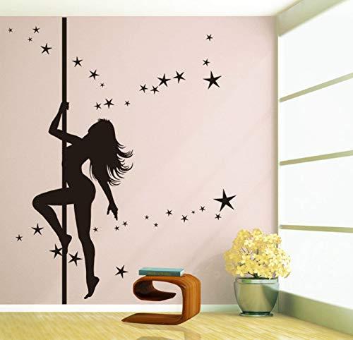 floolter Pole Dance Sexy Fille Vinyle Art Applique Stickers Muraux Maison Decal Amovible Décoratif Mural 60 * 120Cm