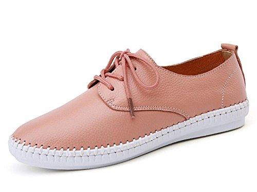 LDMB Die beiläufigen ledernen Schuhe der Frauen breathable weiche rutschfeste Gummischuhe Pink