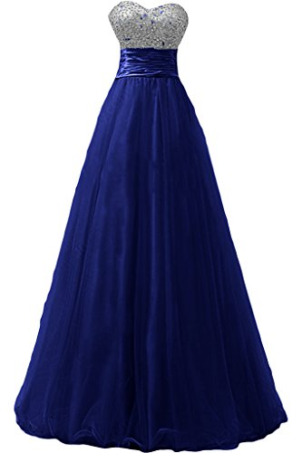 Gorgeous Bride Elegant Lang Traegerlos Empire Tuell Satin Abendkleid Ballkleid Festkleid Royalblau