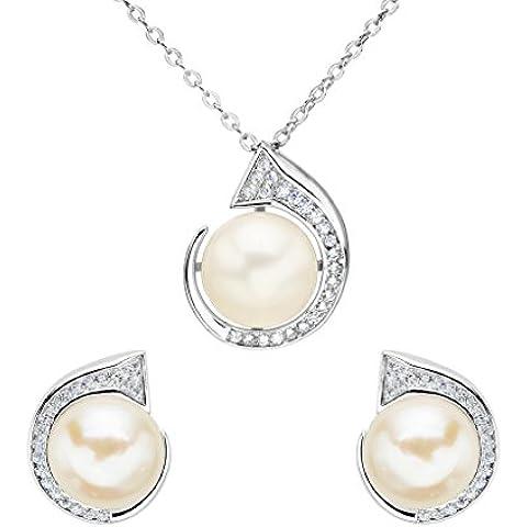EleQueen Pulsante argento 925 CZ AAA Crema coltivata d'acqua dolce Lettera Pearl