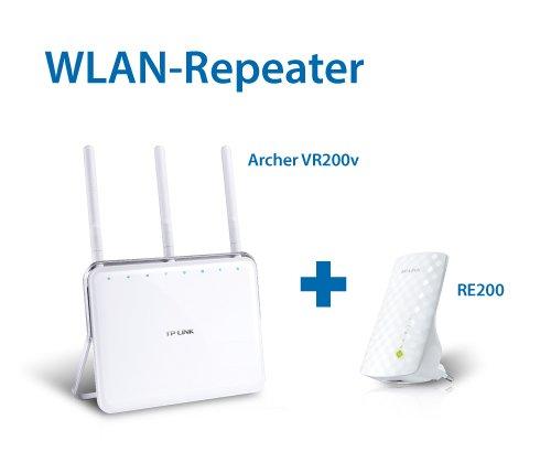 Preisvergleich Produktbild TP-Link: Archer VR200v WLAN Modemrouter & RE200 AC750 Dualband WLAN Repeater