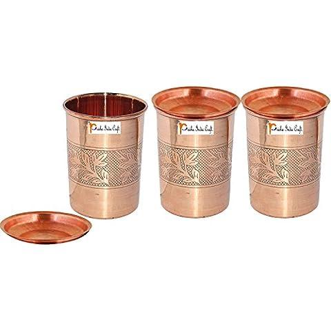 Set di 3 - Prisha India Craft ® cilindretto di rame con coperchio volume 300 ml / 8.4535 OZ I viaggiatori tazza di rame I set di bicchieri di rame , Drinkware set di vetreria - Regalo di natale - Bicchiere Viaggiatore