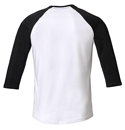 Baseball Unisex T-Shirt 3/4 Arm Aus 100% Bio-Baumwolle, Nackenband und Ärmel in Kontrastfarbe, Bio Kurzarmshirt T-Shirt, Baseball Bio Shirt Weiß/Schwarz