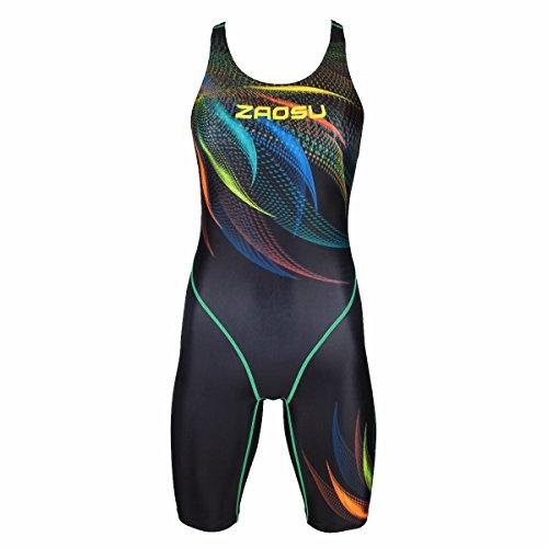 ZAOSU Wettkampf Schwimmanzug Z-Feather Fire - Badeanzug mit Bein für Damen und Mädchen, Größe:38
