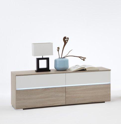 Dreams4Home Lowboard 'Vio' inkl. LED-Lichtleiste, in Eiche/weiß oder weiß/Eiche dunkel, Farbe:Eiche/Weiß