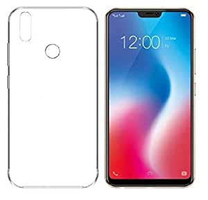 Colorcase Transparent Silicon Back Cover Case for Vivo V9 - {Transparent} with Tempered Glass (Combo Pack)