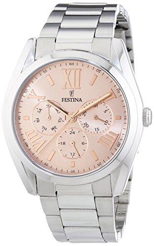 Festina  – Reloj de cuarzo para mujer, correa de acero inoxidable color oro rosa