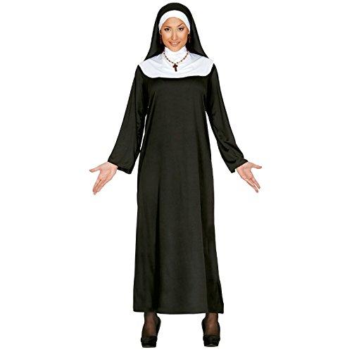 Guirca- Costume da Suora Tunica da Monaca per Adulti, Bianco/Nero, 40-44, 80031
