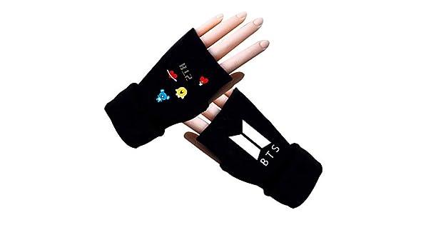 H01 Chour/&Euhk KPOP BTS Bangtan Boys Same Gloves Five-finger Cartoon Half-finger Knitted Gloves Autumn Winter Short Warm Gloves Hot Gift for Fans
