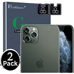 Ferilinso [2 Pièces Caméra Arrière Protecteur pour iPhone 11 Pro Max/iPhone 11 Pro, Film de Protection en Verre trempé sans Bulles avec Garantie de Remplacement à Vie (Transparent)