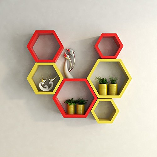 USHA Furniture Hexagon Shape Wall Shelf Set of 6(Red & Yellow)  available at amazon for Rs.1699