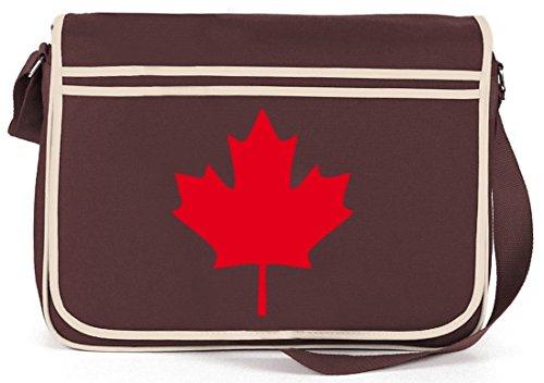 Shirtstreet24, CANADA/KANADA, Länder Retro Messenger Bag Kuriertasche Umhängetasche Braun