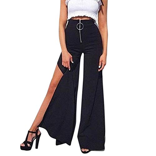 Moda pantaloncini yoga -gamba larga e doppie punte pantaloni - lunghi vita alta con gamba donna harem larghi hip hop lunghi pantaloni estivi ragazza alla jogging sportivi(nero,s)